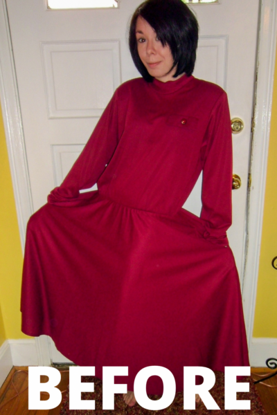 Christmas Eve No-Sew Dress Refashion