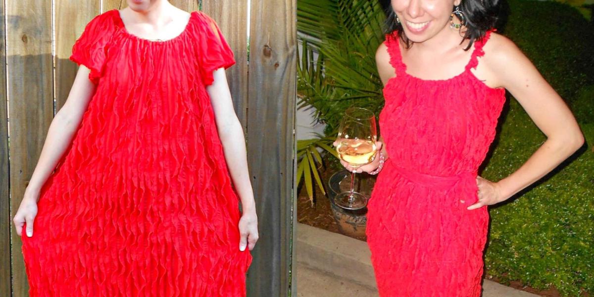ruffled dress refashion featured image