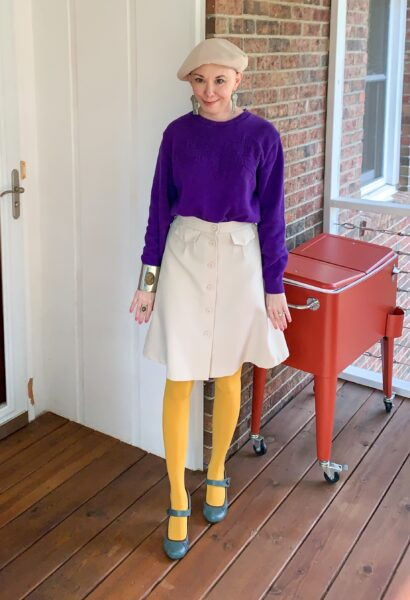 refashionista in vintage purple sweater