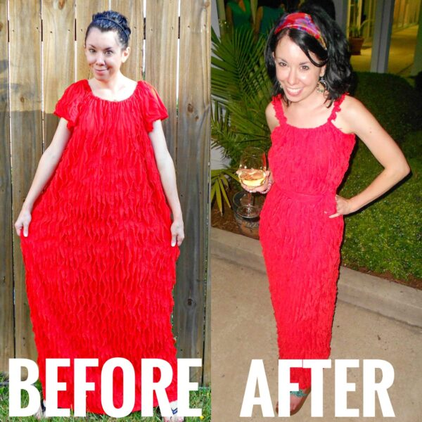 refashionista ruffled dress refashion before and after