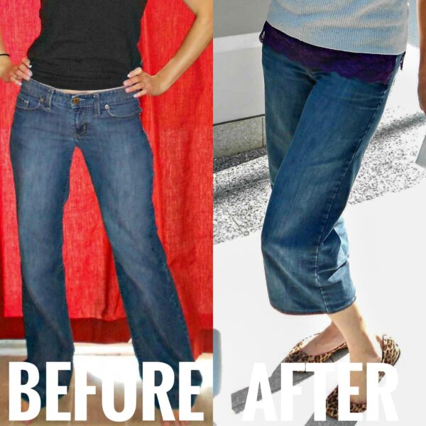 refashionista how to. crop jeans before and after