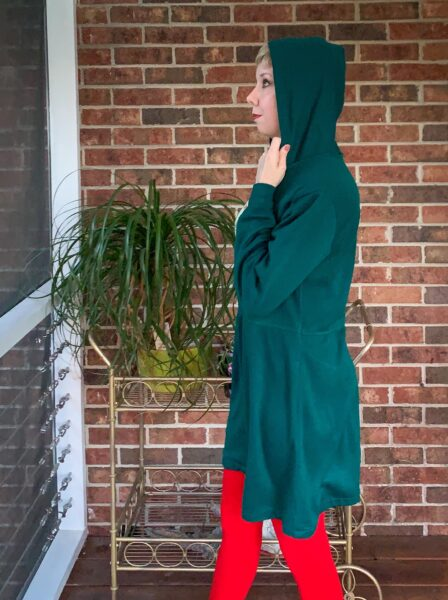 hooded dress side view with hood up