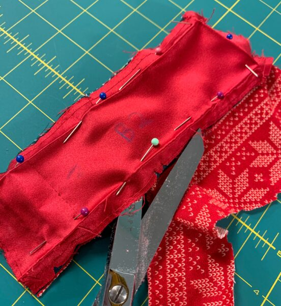 cutting out belt thing pieces from jogger fabric