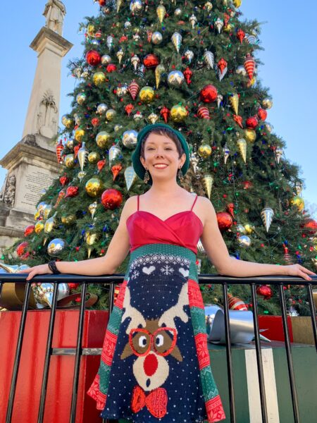 refashionista in front of christmas tree