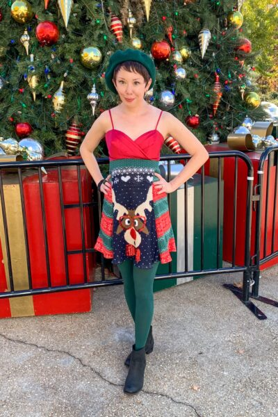 refashionista DIY Christmas Sweater Dress after closer view