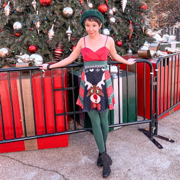 refashionista DIY Christmas Sweater Dress after