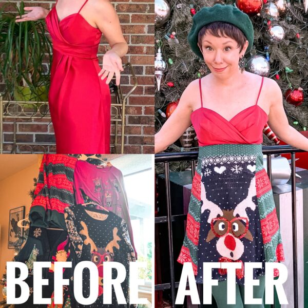 refashionista diy christmas sweater dress before and after