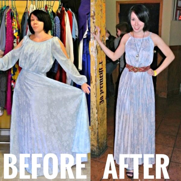 refashionista ModCloth-Inspired New Year's Eve Dress Refashion before and after