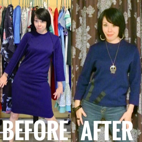 refashionista Sweater Dress to Sweater Refashion before and after