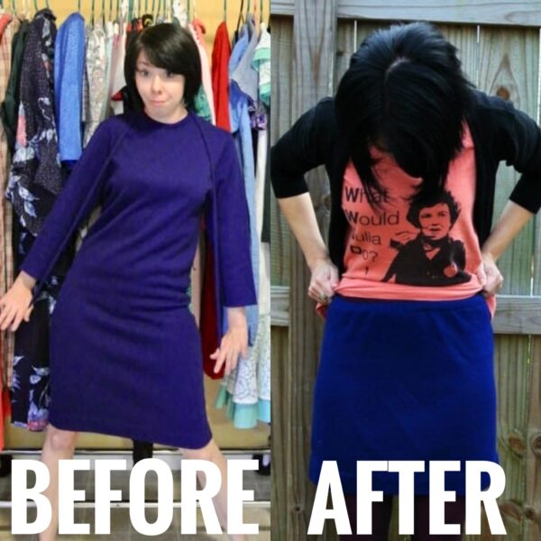 DIY Sweater Skirt Before and After