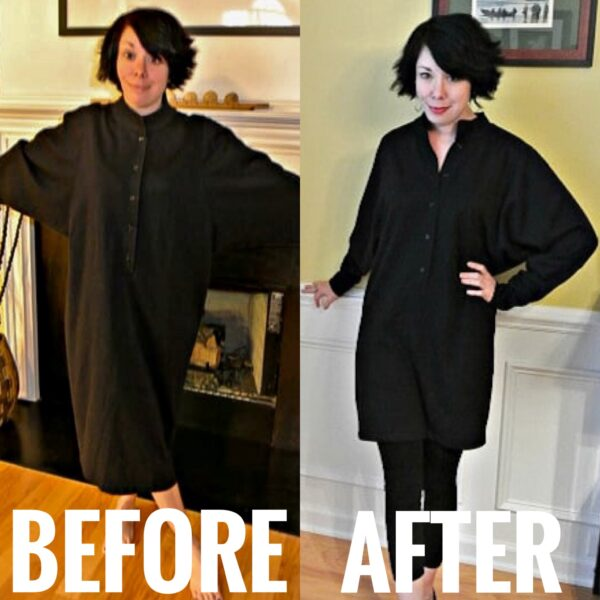 refashionista DIY Tunic Dress before and after