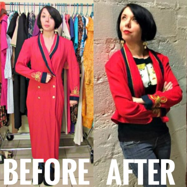 refashionista Military Style Jacket From Dress Refashion before and after