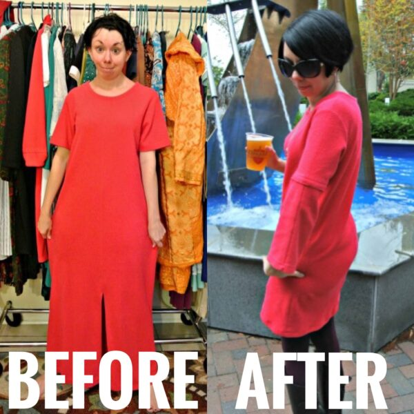 refashionista Short Sleeve to Long Sleeve Dress Refashion before and after