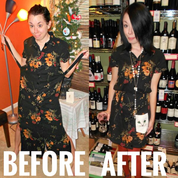 refashionista How to Add a Shirt Pocket to a Dress before and after