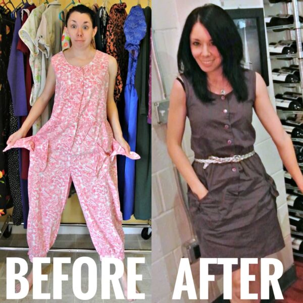 Refashionista '80s Jumpsuit to Dress Refashion before and after