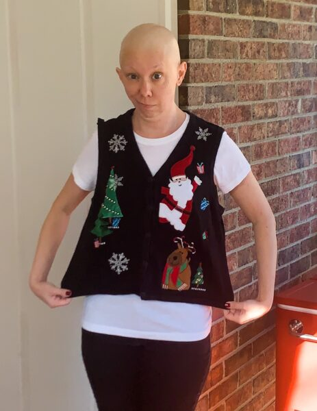 refashionista christmas sweater vest to halter top before