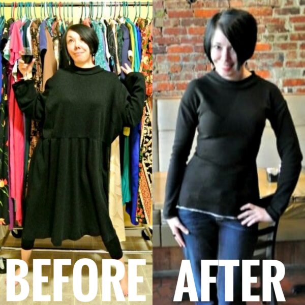 refashionista DIY Peplum Top refashion before and after