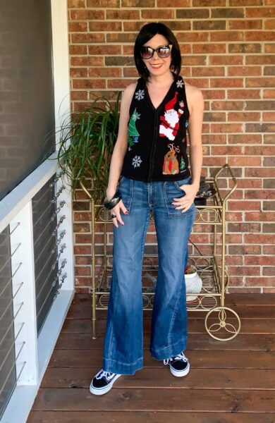 refashionista Christmas Sweater Vest to Halter Top Refashion after full outfit