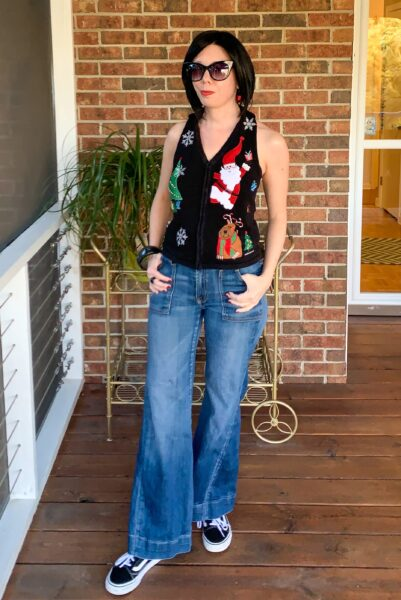 refashionista Christmas Sweater Vest to Halter Top Refashion after