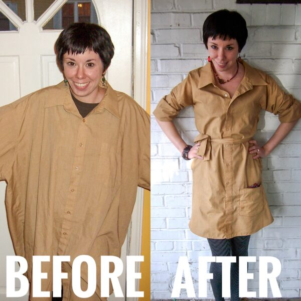 refashionista How to Upcycle a Men's Shirt into a Dress before and after