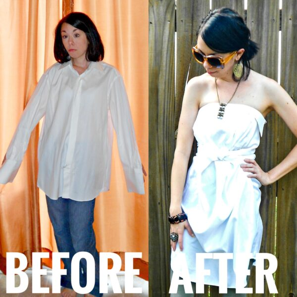 refashionista How to Upcycle a Men's Dress Shirt (No Sew) before and after