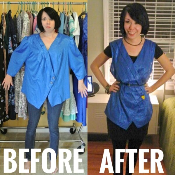 Refashionista '80s Blouse to Vest Refashion before and after