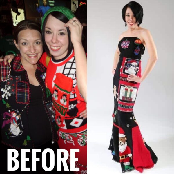 refashionista ugly christmas sweater dress refashion before and after
