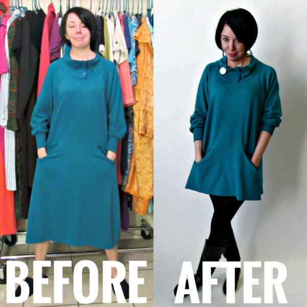 Refashionista No-Sew Cozy Tunic Dress Refashion before and after