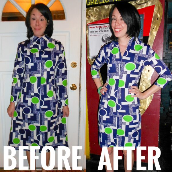 refashionista '70s Vintage Housedress Refashion before and after