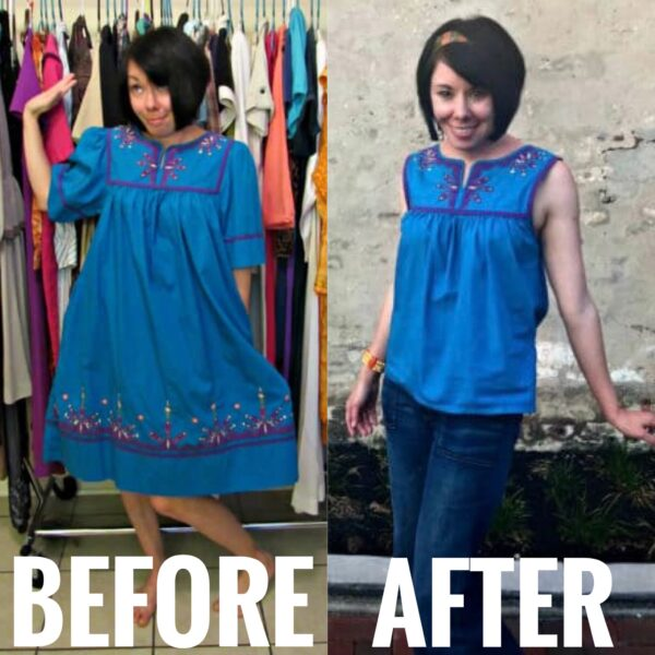 MuuMuu to Sleeveless Top Refashion before and after