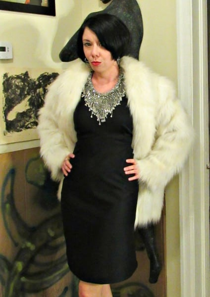 refashionista 1970s Formal Dress Refashion after with faux fur coat