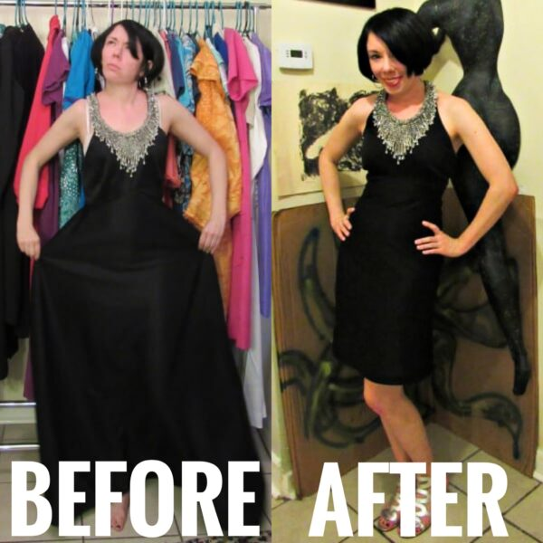 1970s Formal Dress Refashion before and after