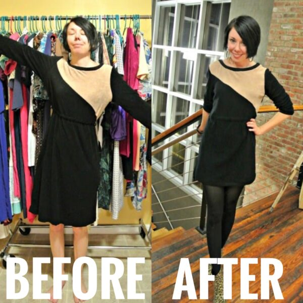 '70s Terry Cloth Dress Refashion before and after