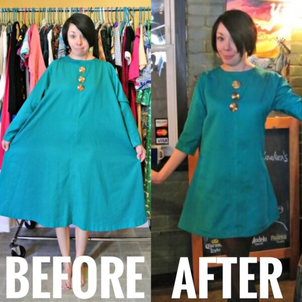 refashionista Mod-Inspired Brunch Dress Refashion before and after