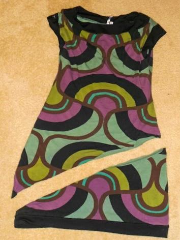 dress with diagonal cut across bottm