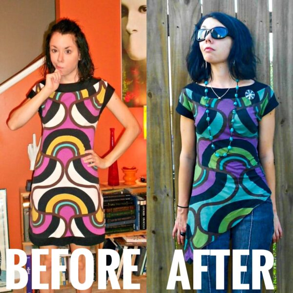 refashionista DIY Asymmetrical Top Refashion before and after