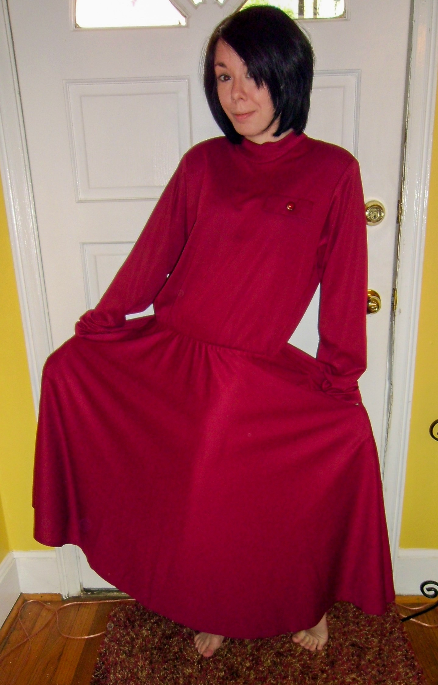 christmas eve no-sew dress refashion before