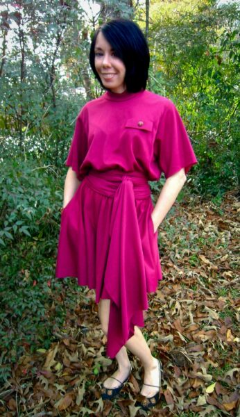 Christmas Eve No-Sew Dress Refashion after