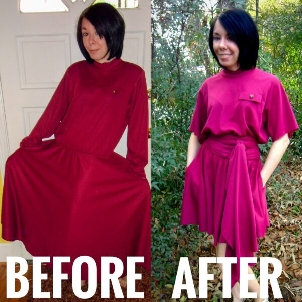 Christmas Eve No-Sew Dress Refashion before and after