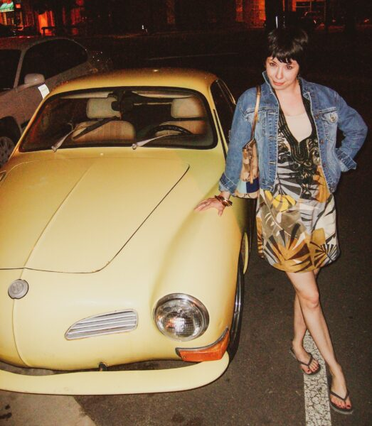 Tunic Top to Dress Refashion after standing in front of Karmann Ghia