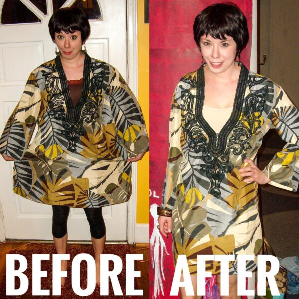 Tunic Top to Dress Refashion before and after