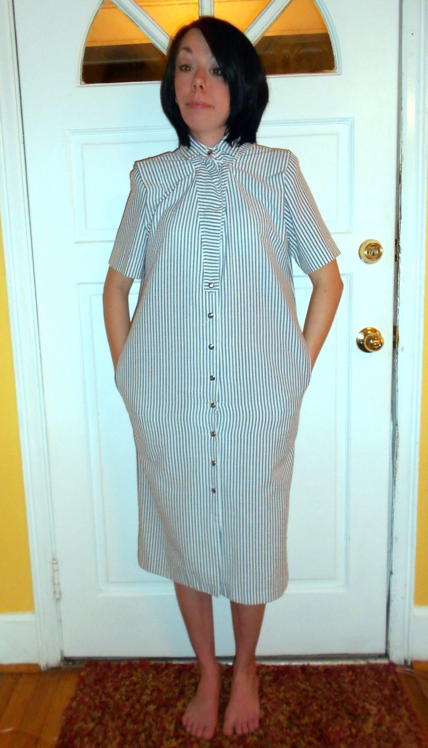 '80s Seersucker Dress Refashion before