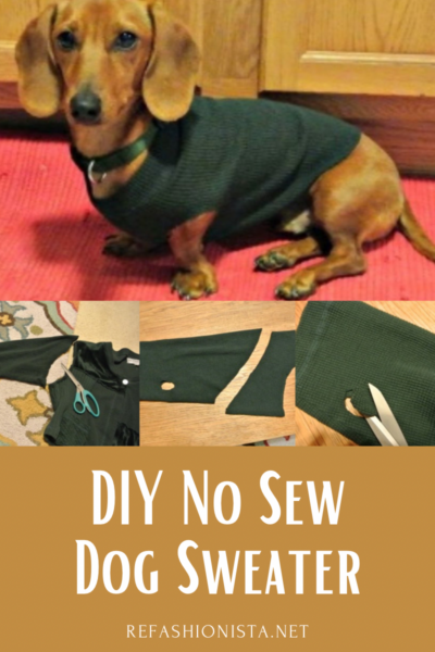 No-Sew DIY Dog Sweater from Old Sweater Pin 2