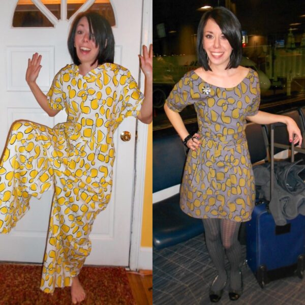 Tacky Jumpsuit to Dress Refashion Pin 7