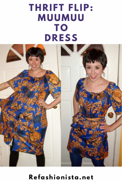 Muumuu to Art Show Dress Refashion Pin 2