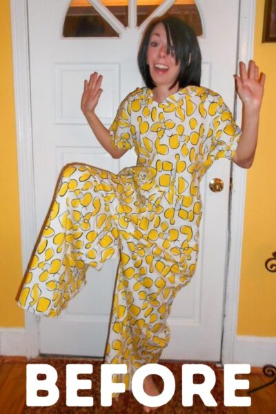 Tacky Jumpsuit to Dress Refashion Pin 3