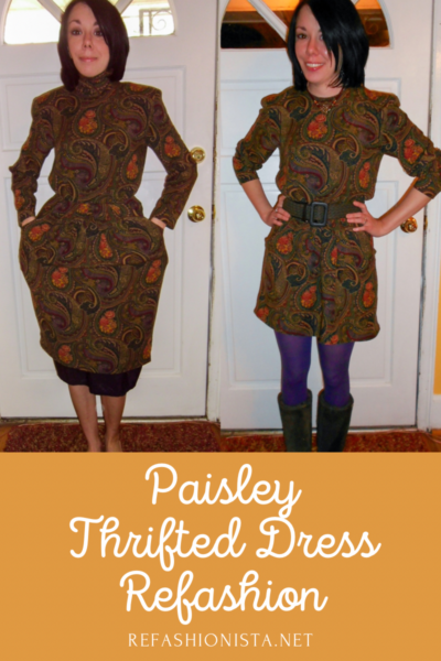 Plucky in Paisley Dress Refashion Pin 3