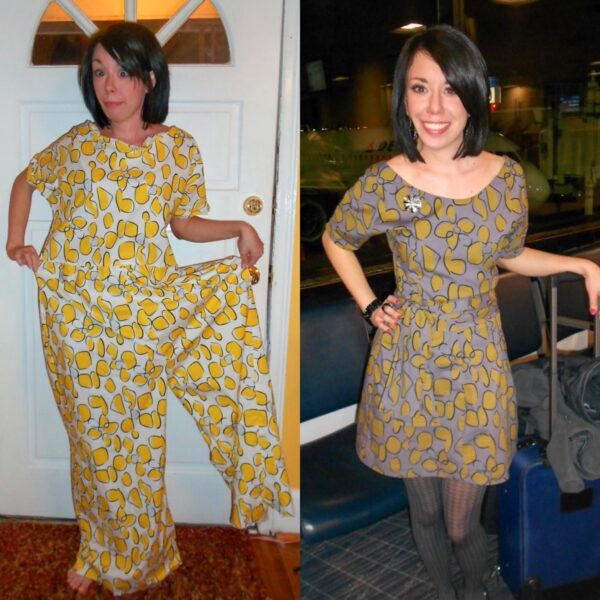 Tacky Jumpsuit to Dress Refashion Pin 8