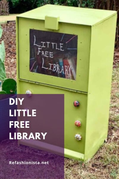 DIY Little Free Library (from an Old Newspaper Box!) pin 1
