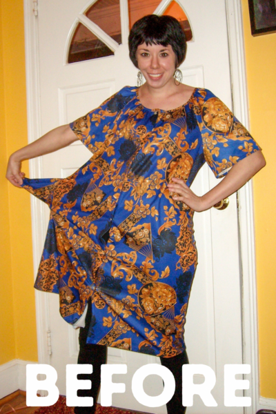 Muumuu to Art Show Dress Refashion Pin 1